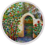 Round Beach Towel featuring the painting Siesta Key Archway by Lou Ann Bagnall