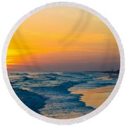 Siesta Key Sunset Walk Round Beach Towel by Susan Molnar