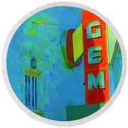 Sign - Gem Theater - Jazz District  Round Beach Towel by Liane Wright