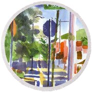 Round Beach Towel featuring the painting Sign Posts by Kip DeVore
