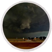 Round Beach Towel featuring the photograph Signs Of A Supercell by Ed Sweeney