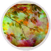 Round Beach Towel featuring the digital art Signs Of Autumn by Nina Bradica
