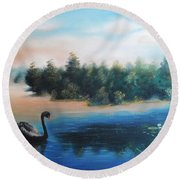 Round Beach Towel featuring the painting Silence by Vesna Martinjak