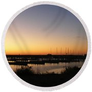 Silent Harbor Round Beach Towel