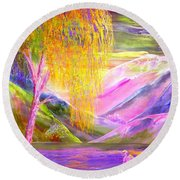 Silent Waters, Silver Birch And Egret Round Beach Towel