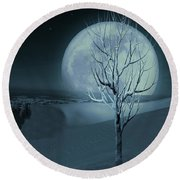 Silent Winter Evening  Round Beach Towel