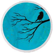 Silhouette Blue Round Beach Towel by Stefanie Forck