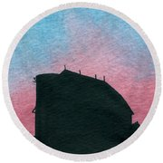 Silhouette Farm Number 1 Round Beach Towel