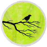 Silhouette Green Round Beach Towel by Stefanie Forck