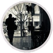 Silhouette Of A Person At Cafe Round Beach Towel