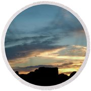Silhouette Of A Visitor At Sunset Round Beach Towel