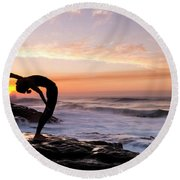 Silhouette Of A Woman Practicing Yoga Round Beach Towel