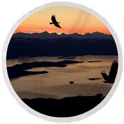 Silhouette Of Bald Eagles In Flight At Round Beach Towel