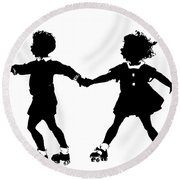 Silhouette Of Children Rollerskating Round Beach Towel