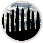 Silhouette Of Cypress Trees Round Beach Towel
