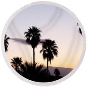 Silhouette Of Palm Trees At Dusk, Palm Round Beach Towel