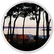 Silhouette Of Trees At Dusk, Little Round Beach Towel