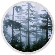 Silhouette Of Trees With Fog Round Beach Towel