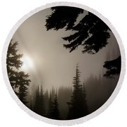 Silhouettes Of Trees On Mt Rainier Round Beach Towel by Greg Reed