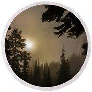 Silhouettes Of Trees On Mt Rainier II Round Beach Towel