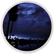 Silhouetting Palms Round Beach Towel