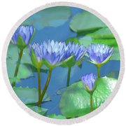 Round Beach Towel featuring the photograph Silken Lilies by Holly Kempe