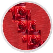 Silken Red Sparkles Redrose Across Round Beach Towel by Navin Joshi
