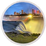 Silky Niagara Falls Panoramic Sunset Round Beach Towel