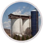 Silo House With A View - Color Round Beach Towel by Carol Lynn Coronios