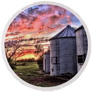 Silo Sunset Round Beach Towel