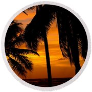 Silhouette Sunrise In Kapoho Round Beach Towel