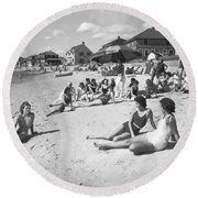 Silver Beach On Cape Cod Round Beach Towel by Underwood Archives