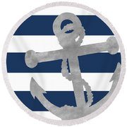 Silver Coastal On Blue Stripe I Round Beach Towel