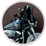 Round Beach Towel featuring the photograph Silver Harley Motorcycle by Imran Ahmed
