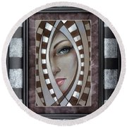 Silver Memories 220414 Framed Round Beach Towel by Selena Boron