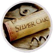 Silver Oak Cork Painting Round Beach Towel