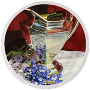 Silver Pitcher And Bluebonnet Round Beach Towel