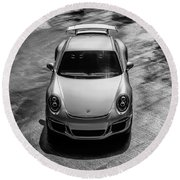 Round Beach Towel featuring the digital art Silver Porsche 911 Gt3 by Douglas Pittman