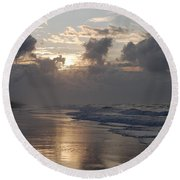 Silver Sunrise Round Beach Towel by Mim White