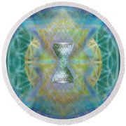 Silver Torquoise Chalicell Ring Flower Of Life Matrix II Round Beach Towel
