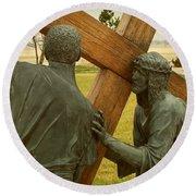 Simon Helps Jesus Carry His Cross Round Beach Towel