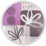 Simple Flowers- Contemporary Painting Round Beach Towel by Linda Woods