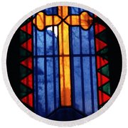 Simple Stain Glass Cross Pere Lachaise Paris Round Beach Towel