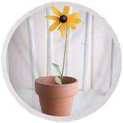 Simple Yellow Flower Round Beach Towel