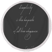 Simplicity And Elegance Round Beach Towel