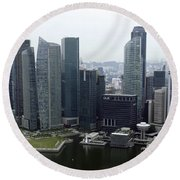 Round Beach Towel featuring the photograph Singapore Skyline by Shoal Hollingsworth