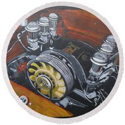 Singer Porsche Engine Round Beach Towel