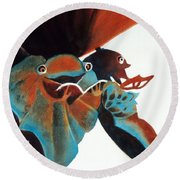 Singing Frog Duet 2 Round Beach Towel
