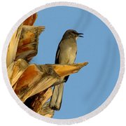 Singing Mockingbird Round Beach Towel by Marilyn Smith