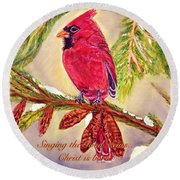 Round Beach Towel featuring the painting Singing The Good News With A Christmas Message by Kimberlee Baxter